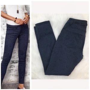CAbi Curvy Skinny Navy Blue Lace Print Jeans #3196